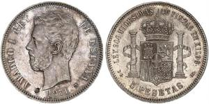5 Peseta Kingdom of Spain (1814 - 1873) Silber Amadeus I. (Spanien)  (1845 - 1890)