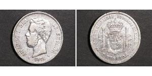 5 Peseta Kingdom of Spain (1814 - 1873) Silber Amadeus I. (Spanien)  (1845 - 1890)