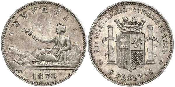 5 Peseta First Spanish Republic (1873 - 1874) Silver