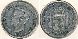 5 Peseta Kingdom of Spain (1814 - 1873) Silver