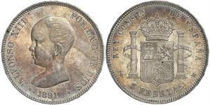 5 Peseta Kingdom of Spain (1874 - 1931) Silver Alfonso XIII of Spain (1886 - 1941)