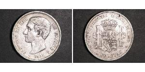 5 Peseta Kingdom of Spain (1874 - 1931) Silver Alfonso XII of Spain (1857 -1885)