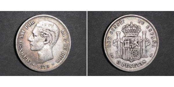5 Peseta Kingdom of Spain (1874 - 1931) Silver Alfonso XII of Spain (1857 -1885)