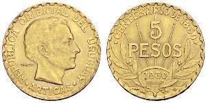 5 Peso Uruguay 金 何塞·赫瓦西奥·阿蒂加斯