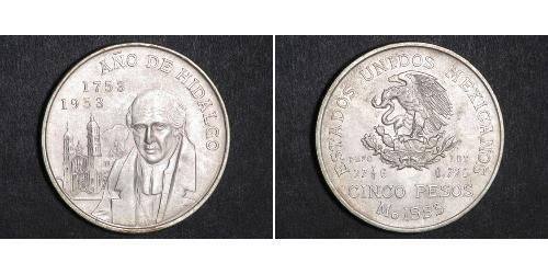 5 Peso Second Federal Republic of Mexico (1846 - 1863) Argent Miguel Hidalgo