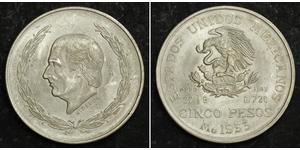 5 Peso Second Federal Republic of Mexico (1846 - 1863) Argento Miguel Hidalgo