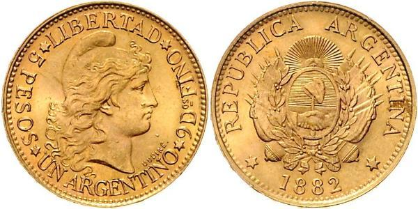 5 Peso Argentine Republic (1861 - ) Gold