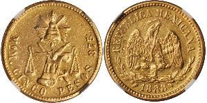 5 Peso United Mexican States (1867 - ) Gold