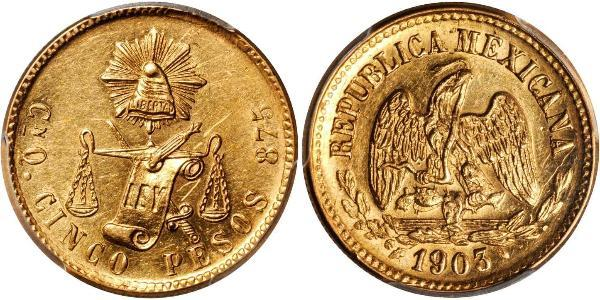 5 Peso Messico (1867 - ) Oro
