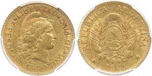 5 Peso República Argentina (1861 - ) Oro