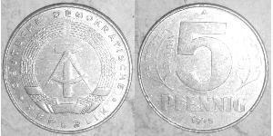 5 Pfennig 東德 (1949 - 1990) 铝