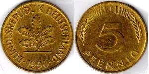 5 Pfennig 西德 (1949 - 1990) 黃銅
