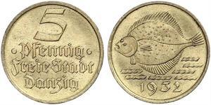 5 Pfennig Gdansk (1920-1939) Alluminio/Bronzo