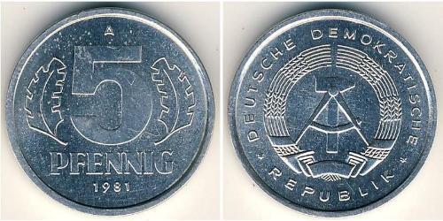5 Pfennig Deutsche Demokratische Republik (1949-1990) Aluminium
