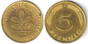 5 Pfennig West Germany (1949-1990) Brass