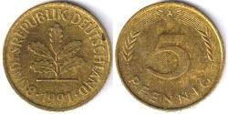 5 Pfennig Alemania (1990 - ) Cobre/Acero