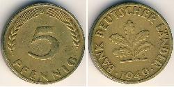 5 Pfennig Geschichte der Bundesrepublik Deutschland (1949-1990) Messing