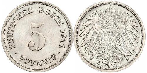 5 Pfennig Imperio alemán (1871-1918) Níquel/Cobre