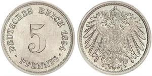 5 Pfennig Impero tedesco (1871-1918) Rame/Nichel