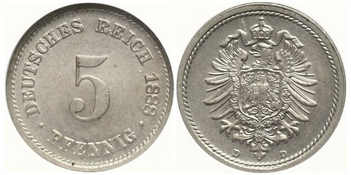 5 Pfennig Imperio alemán (1871-1918)