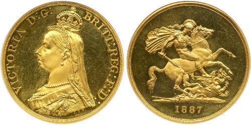 5 Pound Britisches Weltreich (1497 - 1949) / Vereinigtes Königreich von Großbritannien und Irland (1801-1922) Gold Victoria (1819 - 1901)