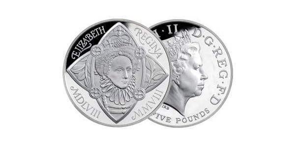5 Pound Reino Unido (1922-) Níquel/Cobre Isabel II (1926-)