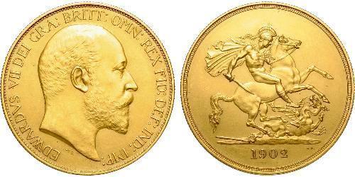 5 Pound Regno Unito di Gran Bretagna e Irlanda (1801-1922) Oro Edoardo VII (1841-1910)