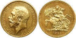 5 Pound Reino Unido de Gran Bretaña e Irlanda (1801-1922) Oro Jorge V (1865-1936)