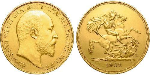 5 Pound Reino Unido de Gran Bretaña e Irlanda (1801-1922) Oro Eduardo VII (1841-1910)