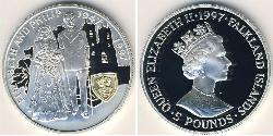 5 Pound Falkland Islands Silver Elizabeth II (1926-)