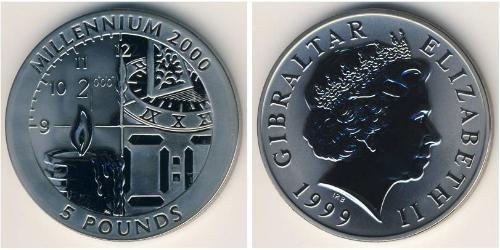 5 Pound Gibraltar Silver Elizabeth II (1926-)