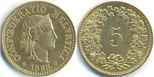 5 Rappen / 5 Centime Switzerland Copper/Nickel