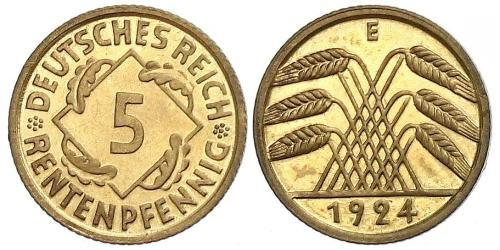 5 Reichpfennig Weimar Republic (1918-1933) Brass