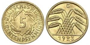 5 Reichpfennig República de Weimar (1918-1933) Latón