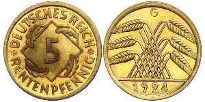 5 Reichpfennig Weimarer Republik (1918-1933) Messing