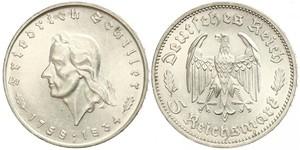 5 Reichsmark Третий рейх (1933-1945) Серебро Шиллер, Фридрих