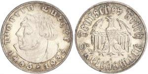 5 Reichsmark Третий рейх (1933-1945) Серебро Лютер, Мартин