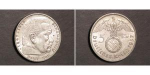 5 Reichsmark Третий рейх (1933-1945) Серебро Гинденбург, Пауль фон