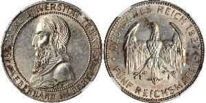 5 Reichsmark Веймарська республіка (1918-1933) Срібло Ебергард I (граф Вюртембергу)