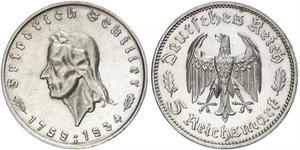 5 Reichsmark Третій рейх (1933-1945) Срібло Йоганн-Фрідріх Шиллер