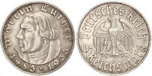 5 Reichsmark Третій рейх (1933-1945) Срібло Мартін Лютер