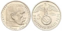 5 Reichsmark 納粹德國 (1933 - 1945) 銀 保罗·冯·兴登堡 (1847 - 1934)
