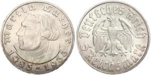 5 Reichsmark 納粹德國 (1933 - 1945) 銀 馬丁·路德