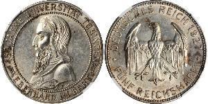 5 Reichsmark 魏瑪共和國 (1919 - 1933) 銀 Eberhard I, Count of Württemberg