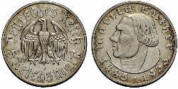 5 Reichsmark Troisième Reich (1933-1945) Argent Martin Luther