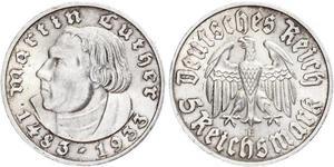 5 Reichsmark Germania nazista (1933-1945) Argento Martin Lutero