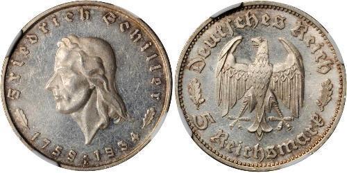 5 Reichsmark Germania nazista (1933-1945) Argento Friedrich Schiller