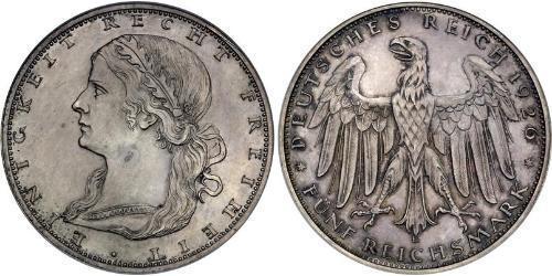 5 Reichsmark Repubblica di Weimar (1918-1933) Argento