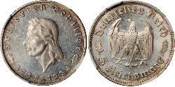 5 Reichsmark Alemania nazi (1933-1945) Plata Friedrich Schiller