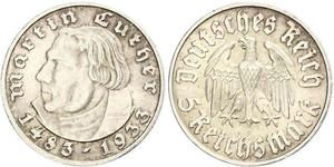 5 Reichsmark Alemania nazi (1933-1945) Plata Martín Lutero